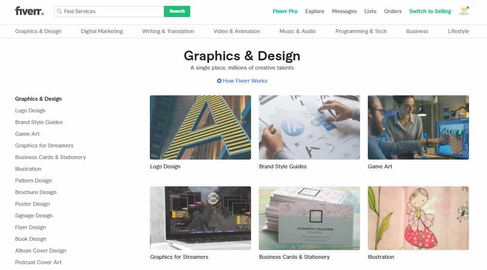 Best selling gig on Fiverr: Graphic Design