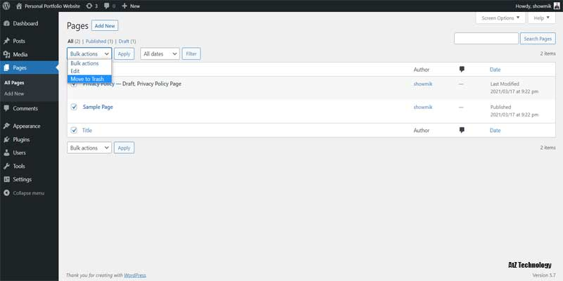 Getting Familiar with WordPress Dashboard & Clean-Up
