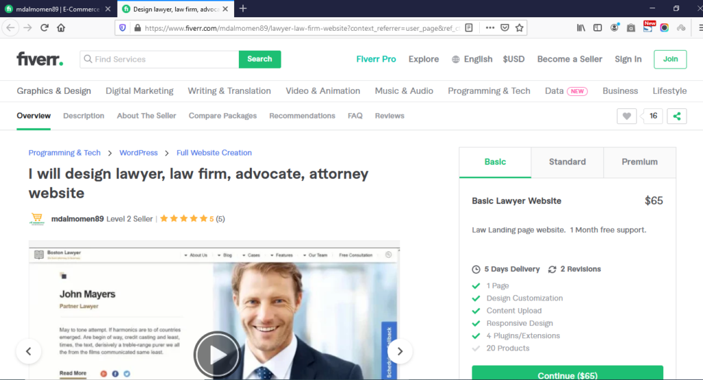 The Law firm website gig