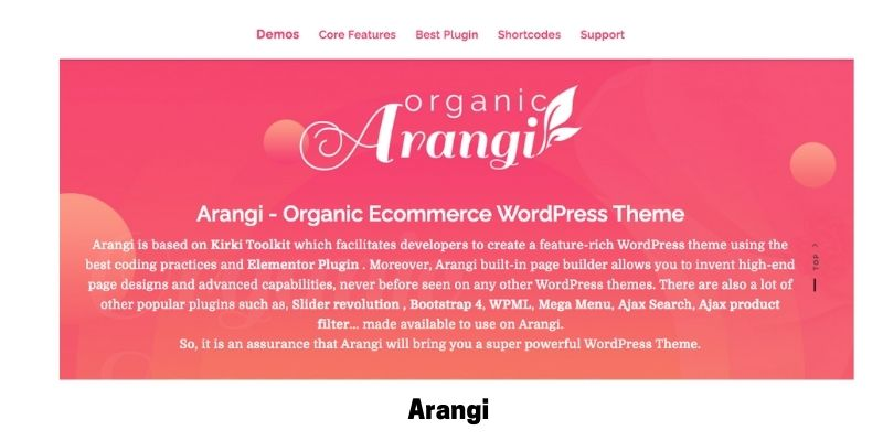 Arangi: Best Health Supplements WordPress Theme